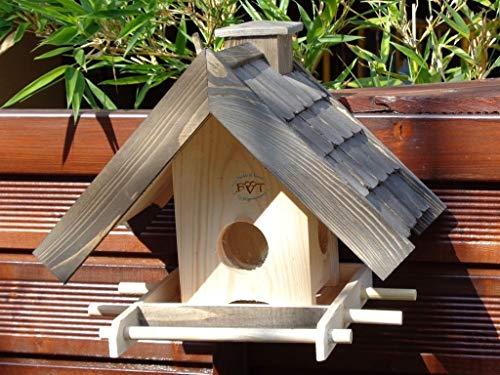 Vogelhaus + XXL-FUTTERSILO,mit Ständer,K-VOWA3-MS-at001 NEU PREMIUM-Qualität,Vogelhaus,mit Ständer KLASSIK-PREMIUM-Qualität,Vogelhaus,1,5 L Silo+ SICHTSCHEIBE RUND / GLAS, FUTTERVORRAT-SILO – VOGELFUTTERHAUS , Qualität Schreinerware 100% Massivholz – VOGELFUTTERHAUS MIT FUTTERSCHACHT-Futtersilo Futterstation Farbe schwarz lasiert, anthrazit / Holz natur, Ausführung Naturholz MIT TIEFEM WETTERSCHUTZ-DACH für trockenes Futter, mit Futterschacht zum Nachfüllen oben - 3