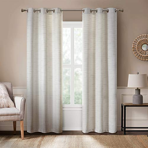 Rustic Modern Curtains for Living Room | Farmhouse Bedroom Window Treatment | Grasscloth Faux Linen | Room Darkening Grommet Top Decor | Off/White 40x63 Inches - 2 Panels