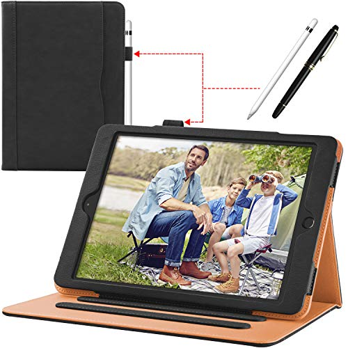 New iPad 9.7 inch 2018/2017 [ 6th / 5th Generation ] Leather Case with Apple Pencil Holder, Corner Protection, Stand Folio Cover Case and Auto Wake/Sleep, Also Fit iPad Air 2/iPad Air, Black