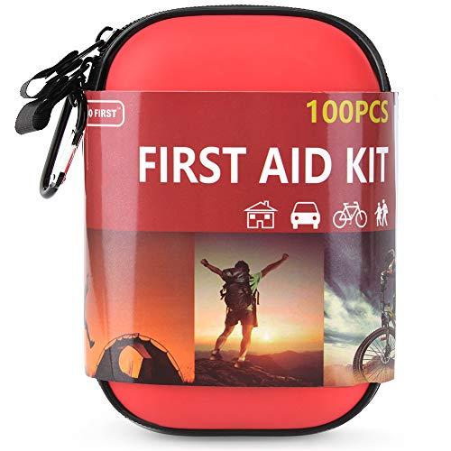 TIANBO FIRST 100-Teiliges Erste Hilfe Set für Haus, Camping, Wandern, Sport, Fahrrad, Boot, Überleben und Reisen, Kompakt und Leicht, Rot