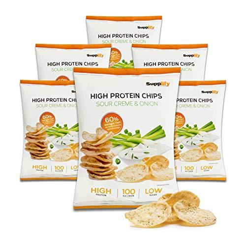 Supplify Protein Chips (panna acida e cipolla) - snack proteico per la dieta o la costruzione muscolare - sgranocchiare con la coscienza pulita (6x50g)
