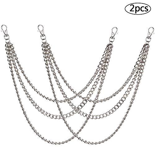 Gliederkette,BESTZY 2 Stück Metallkette Gliederkette mit Karabinerhaken Zubehör 45/52/65cm für Hut Kostüm Dekoration (Silber)