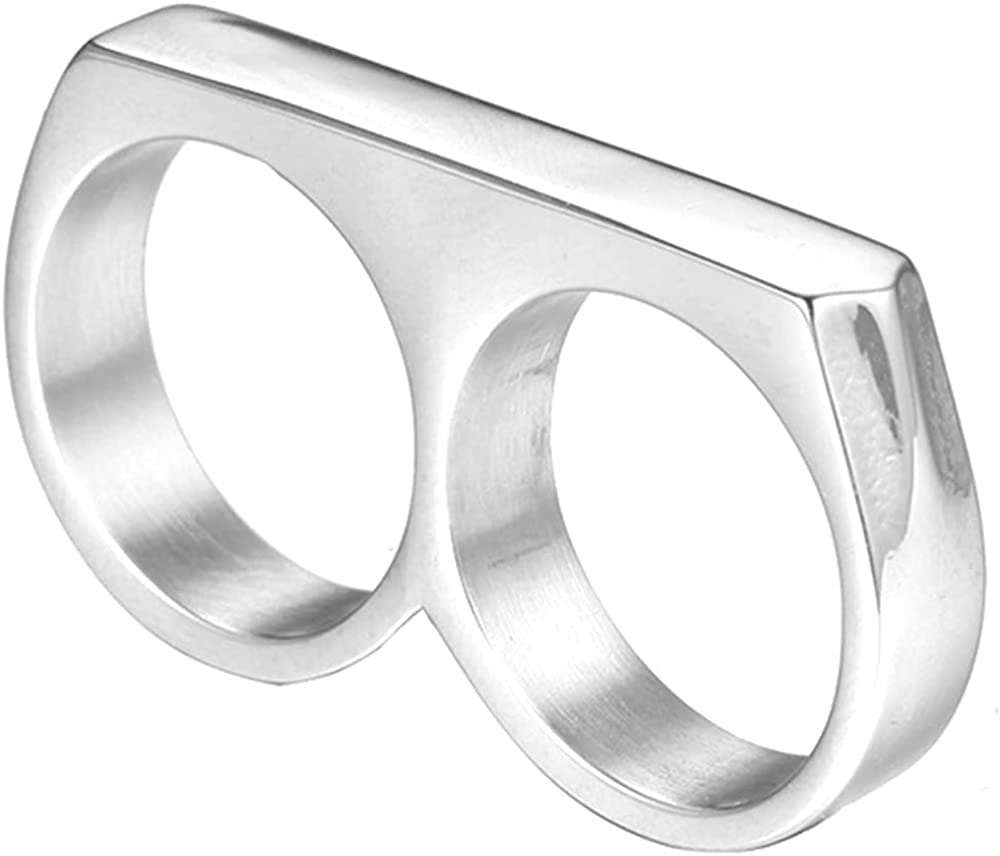 Stainless Steel Double Fingers Fashion Cocktail Party Statement Ring