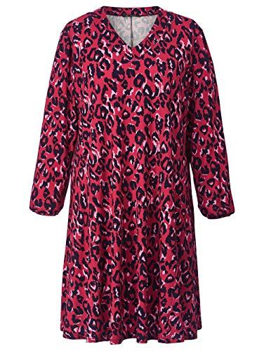 Sara Lindholm Jersey-Kleid mit Leo-Print Viskose Rot