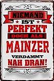 Blechschilder NIEMAND IST PERFEKT DOCH ALS MAINZER VERDAMMT