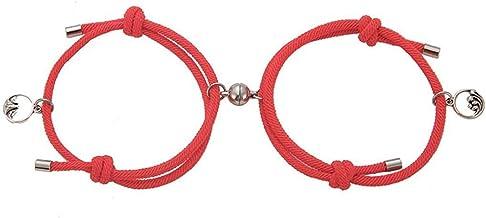 Bao Xiang Armbanden Paar Alloy Magnetic Buckle Geliefde Armband Verstelbare Braid Rope Red Bracelet Voor 1 Paar