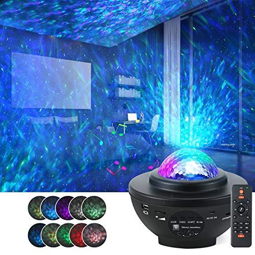 Sternenhimmel LED, Rotierende Wasserwellen Galaxy Light mit Fernbedienung und Bluetooth, Projektionslampe für Party Weihnachten Ostern
