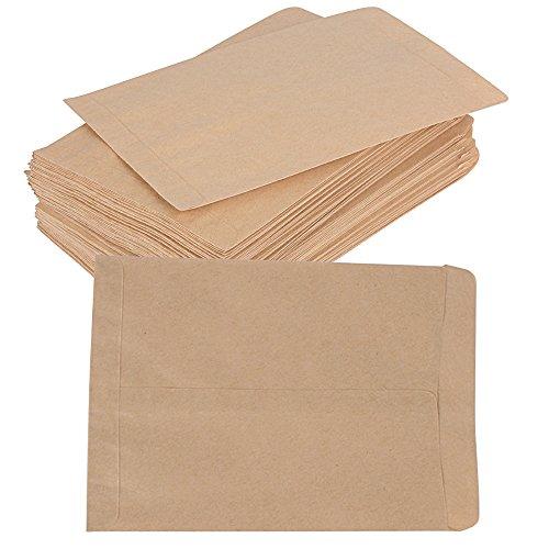 (12*18 cm) 100 Stück Mini Papiertüten Papierbeutel Kraftpapier Tüten Beutel Geschenktüten Schmucktüten Flachbeutel Braun klein für Gastgeschenke Schmuck Bonbons Süßigkeiten Samen Mitgebsel usw