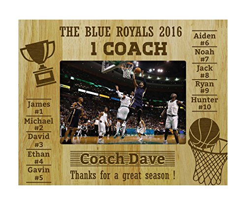 Darling Souvenir Personalized Engraved Basketball Team Coach Gift Picture Frame with Playes Name -5 x 7 Inches Horizontal