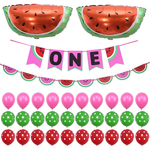 Simla Decor Watermelon Theme Baby Shower Banner Kits 1st Birthday Party Decoration Set Including Huge Watermelon Foil Balloon and Handmade Watermelon Bunting High Chair Garlands