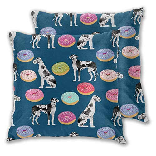 "NoneBrand Great Dane Dogs and Donuts Cute Donut Best Great Dane Dog Dog Owners Will Love This Daily Decoration Sofa Bedroom Car Cushion Cover Zip Pillow Cover 18""x 18"", Set of 2"