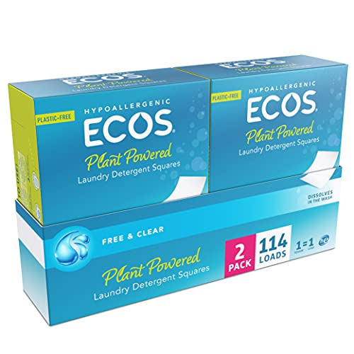 ECOS™ Liquidless Laundry Detergent Squares, Free & Clear, 114 Loads (57 Count, Pack of 2)