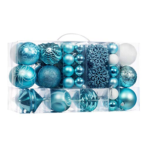 70-Pcs Light Blue Christmas Ball Ornaments Assorted Shatterproof Christmas Ball Set with Reusable Hand-held Gift Package for Xmas Tree Decoration