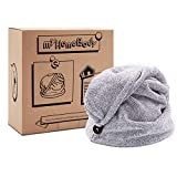 Hair Towel Wrap | Luxury Anti-Frizz Rapid-Dry Hair-Drying Turban | Ultra Soft and Quick Drying Absorbent Charcoal Fiber, with Coconut Shell Button