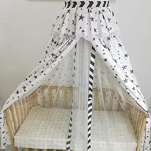 SANNA Black Star - Mosquitero doble para cama pequeña de madera, tela de algodón + malla de lona para niños, tienda de campaña colgante para dormitorio, color blanco