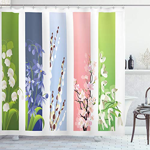 Ambesonne Flower Shower Curtain, Spring Flowers on Different Backgrounds Lily Blossoms Valley Primrose Floral Print, Cloth Fabric Bathroom Decor Set with Hooks, 70' Long, White Green