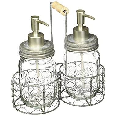 Mud Pie Fresh Jar Soap Pump Caddy, Silver