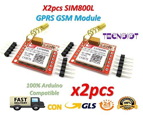 TECNOIOT 2pcs SIM800L GPRS gsm Module PCB Antenna SIM Board Quad Band |2pcs Modulo GPRS SIM800L Scheda gsm Micro SIM Card Quad-Band Porta seriale Ttl con Antenna per Arduino MCU
