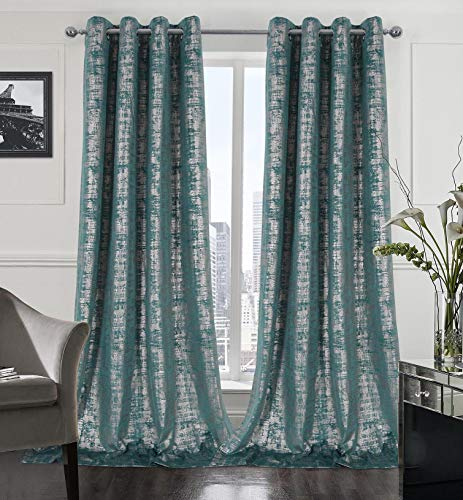 always4u Soft Velvet Curtains 108 Inch Length Luxury Bedroom Curtains Gold Foil Print Window Curtains for Living Room Set of 2 Teal