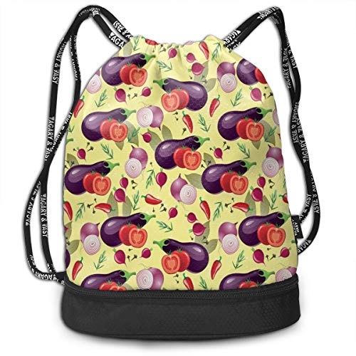 LULABE Printed Drawstring Backpacks Bags,Eggplant Tomato Relish Onion Going Green Eating Organic Tasty Preserve Nature,Adjustable String Closure