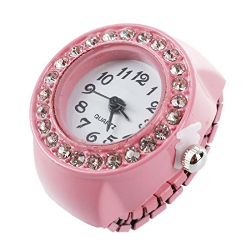 SODIAL(R) Chica rosa de aleacion de cuarzo Bolsillo Reloj de Anillo de Dedo de diamantes redonda de esfera