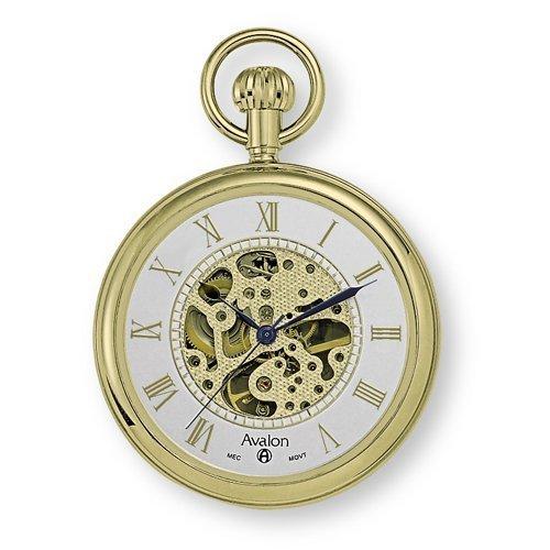 Avalon 17 Jewel Mechanical Skeleton Gold-Tone Pocket Watch with Chain, 8410GX
