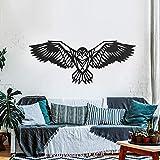 ODUN ARTS - Aguila - Cuadros Decorativos de Madera - Decoración de Pared - 65cm Alto X 160cm Ancho X 1 cm de Espesor - Negro