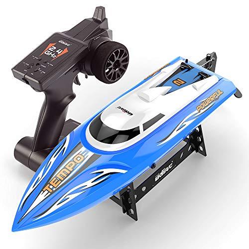 RC Boat Remote Control Boote für Pools und Seen 25 km/h Selbstaufrichtendes Hochgeschwindigkeitsboot Spielzeug für Kinder Erwachsene Jungen Mädchen,Blue