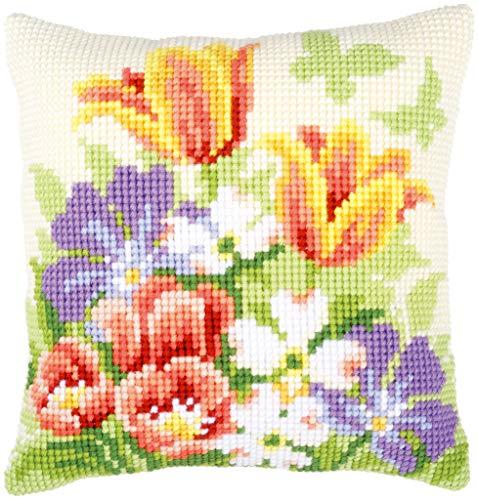 Vervaco - Cojín de Punto de Cruz (diseño de Flores primaverales, Tela Pintada a Mano para facilitar el Bordado)