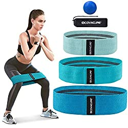 COVACURE Resistance Bands Set - fabric fitness bands set in 3 tensile strengths, resistance bands with massage ball for strength training, booty, hip, legs