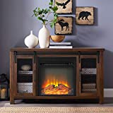 Home Accent Furnishings 48' Rustic Farmhouse Fireplace TV Stand - Dark Walnut