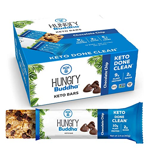 Hungry Buddha - Keto Diet Nutrition Bar - 12 Pack of Low Sugar, Low Net Carb, High Protein Keto Diet Nutrition Bar Made with Only Plant-Based, Clean Ingredients [Chocolate Chip]