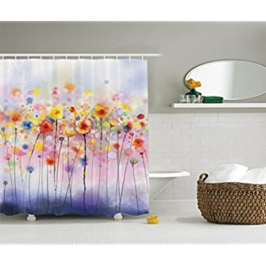 Ambesonne Watercolor Flower Decor Collection, Flowers in Soft Colors and Floral Design Blurred Style, Polyester Fabric Bathroom Shower Curtain Set with Hooks, Navy Red Orange