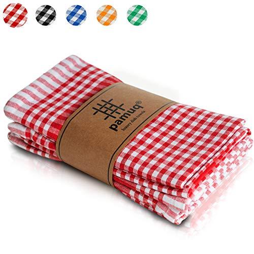 pamuq® Geschirrtücher Baumwolle - 100% | 5er Set | 45x65cm + Aufhänger | Vintage Look kariert | Küchentücher Geschirrhandtücher Baumwolle Putzlappen Küchenhandtücher