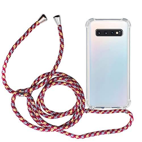 MyGadget Funda Transparente con Cordón para Samsung Galaxy S10 - Carcasa Cuerda y Esquinas Reforzadas en Silicona TPU - Case y Correa - Multicolor
