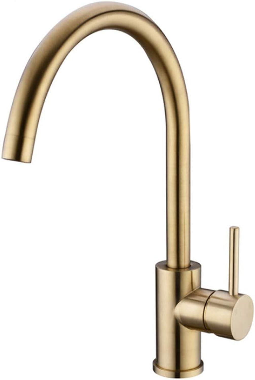 Kitchen Sink Taps Bathroom Taps Brass Brushed gold Kitchen Faucet 360 redatable Water Mix Basin Sink Taps Single Handle Deck Mounted Aerator Tap