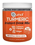 Qunol Turmeric Curcumin Instant Drink Mix, Ultra High Absorption, 500mg + 50mg Ginger, Anti-Inflammatory & Joint Support, Dietary Supplement, 60 Servings