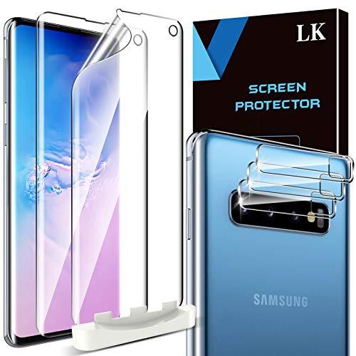 LK 5 Stück Schutzfolie Kompatibel mit Samsung Galaxy S10, 2 Folie und 3 Galaxy S10 Kamera Panzerglas, Blasenfreie Weich TPU Displayschutzfolie Vollständige Abdeckung Fingerabdruck-ID unterstützen