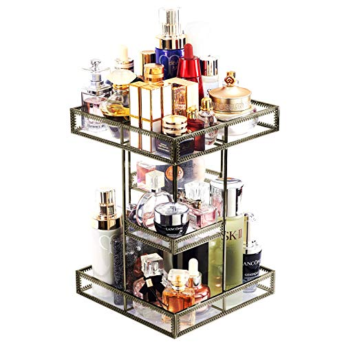 360 Degree Rotation Glass Perfume Holder Makeup Organizer Antique Countertop Vanity Cosmetic Storage Mirrorred Beauty Display, Brass Spin Large Capacity Holder for Brushes Lipsticks Skincare Toner
