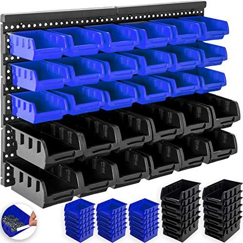 Masko® Stapelboxen Wandregal 32tlg Box Sichtlagerkästen Schüttenregal Steckregal (Schwarz/Blau)