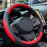 ZATOOTO Car Steering Wheel Cover for Men - Black Red Microfiber...