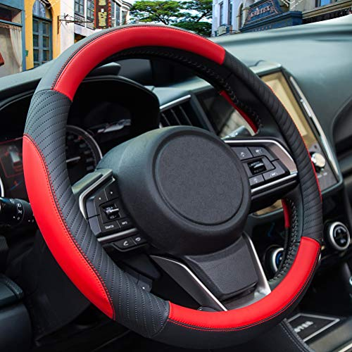 ZATOOTO Car Steering Wheel Cover Leather - Soft Red Microfiber...