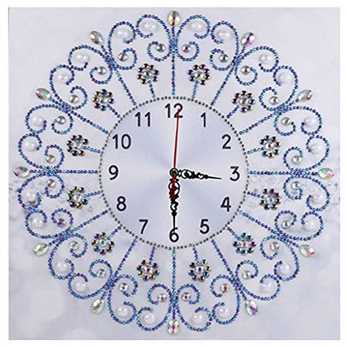 S-TROUBLE 5D Pintura de Diamante en Forma Especial por Kits de números, Taladro Completo Bordado de Diamantes de imitación Imágenes de Punto de Cruz para Christmas Home Deco 35x35cm, Reloj