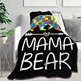 Mama Bear Flannel Throw Blanket, Ultra Soft Lightweight Microfiber Fleece Blanket Perfect for Couch Sofa Bed Best Gift for Mother Grandma S (50'x40')