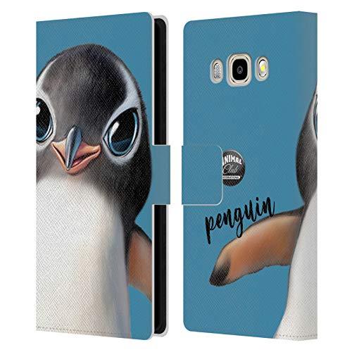 Head Case Designs Ufficiale Animal Club International Pinguino Facce Cover in Pelle a Portafoglio Compatibile con Samsung Galaxy J5 (2016)
