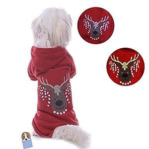 TAONMEISU Pull Manteau à capuche Costume d'hiver pour chien chat coton avec leds lumineux motif renne de Noël chaud et mode (medium)