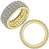 4 Carat G-H Diamond 3 Line Full Eternity Anniversary Wedding Band Bridal Ring 14K White And Yellow Gold