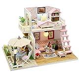 Jadpes Miniatur-DIY-Puppenhaus, 3D Holz handgemachte Prinzessin Haus handmontierte Modellhaus ohne...