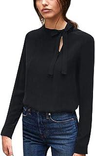 シャツ レディース Florrita 春夏秋物 女性用 トップス 無地シャツ ブラウス 長袖Tシャツ リボン 通勤 オフィス キレイめ OL エレガント 上品 シャツ カットソー きれいめ 上着 トップス ゆったり 通勤通学