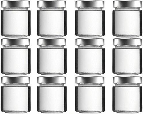 mikken 12 x Einmachglas 150 ml Vorratsglas mit Schraubverschluss PVC frei inkl. Trichter